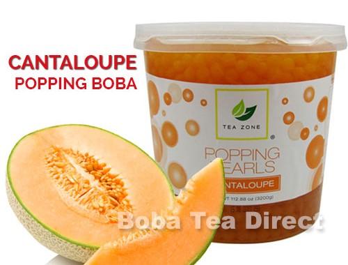 cantaloupe popping bursting boba balls