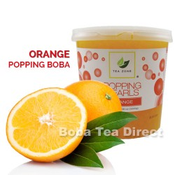 orange popping bursting boba balls