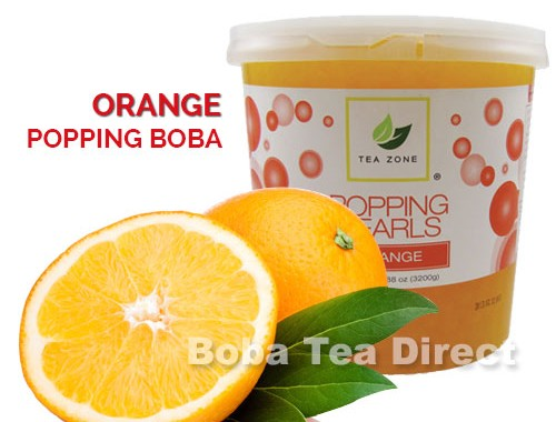orange popping bursting boba balls