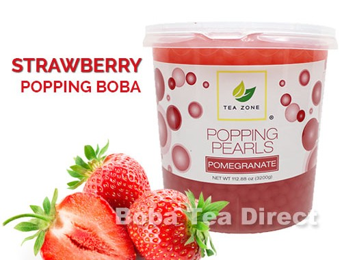 strawberry popping bursting boba balls