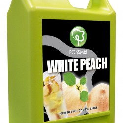 white peach boba bubble tea syrup juice