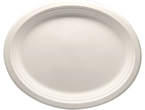 12.5 x 10 Bagasse oval plates