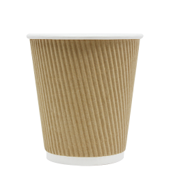 Karat 10oz Ripple Paper Hot Cups - Kraft (90mm)