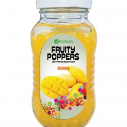 mango fruit poppers popping boba glass jar
