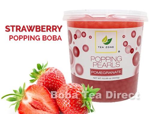 strawberry popping boba