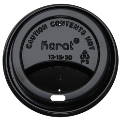 Karat 10-24oz Sipper Dome Lids - Black (90mm)