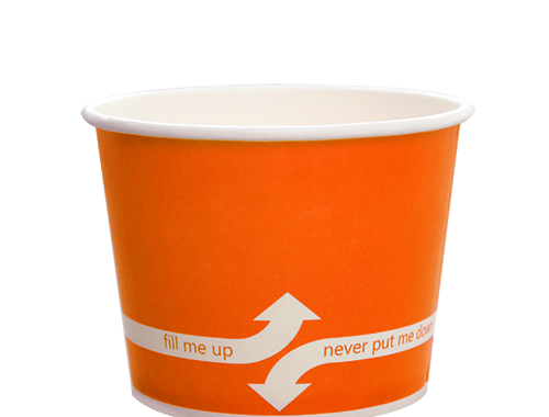 Karat 12oz Hot Cold Paper Food Containers - Orange (100mm)