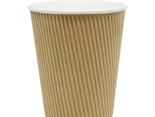 Karat 12oz Ripple Paper Hot Cups - Kraft (90mm)