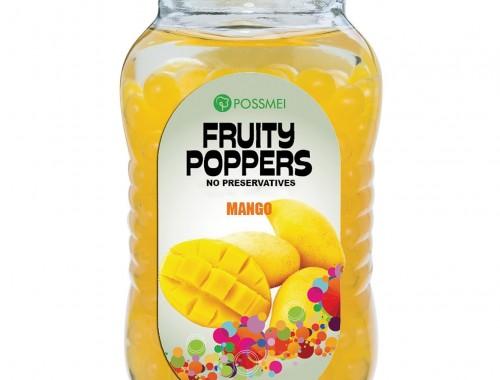 mango fruit poppers popping boba glass jar